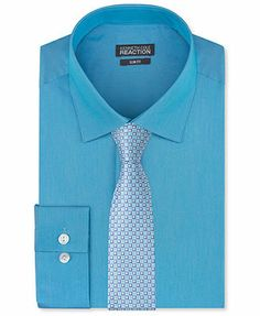 Kenneth Cole Reaction Slim-Fit Pool Blue Solid Dress Shirt & Moonlight Square Slim Tie