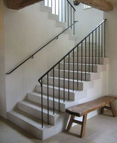 french railing design simple and attached to outside stringer - Google Search
