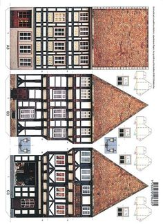 Old Town Printable Cardboard Paper, Paper Toys, Diy Paper, Origami Paper, Paper Doll House, Paper Houses, Box Houses, Putz Houses, Free Paper Models