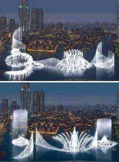 World's largest fountain, Dubai.