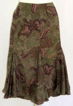 Ralph Lauren 100% Silk Skirt Fall Winter Green Burgundy Size 20W #RalphLauren #Pleated