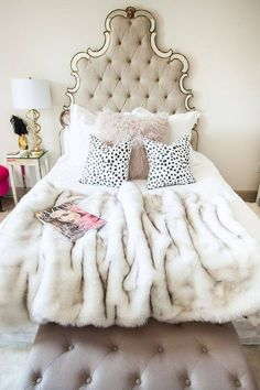 contemporary chic bedroom - Luxury Living For You Feminine Bedroom, Glam Bedroom, Bedroom Inspo, Home Bedroom, Bedroom Decor, Bedroom Romantic, Glam Bedding, Bedroom Inspiration, Pretty Bedroom