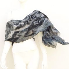 Evening Wrap Grey Silk Rose Nuno Felt ($159) ❤ liked on Polyvore featuring accessories, scarves, shawl scarves, gray scarves, wrap shawl, grey scarves and grey shawl