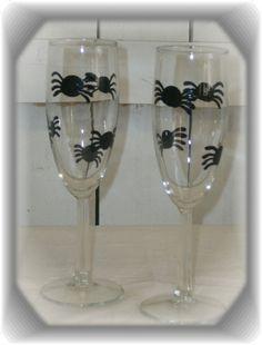 Handpainted Halloween Black Spider Champagne Flutes