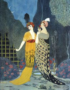 Seeing a photo of Paul Poiret's clothes reminded me of the beautiful paintings / sketches he made as well...