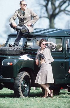HRH the Queen and Prince Philip, Duke of Edinburgh, with my favourite vehicle: the trusty Land Rover.