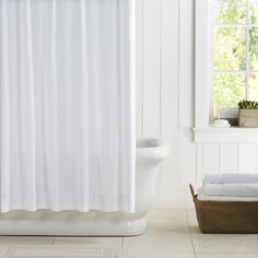 Williams Sonoma Home waffle shower curtain pique