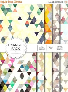 """80% off Entire Shop Digital Paper - Triangle Pack - Instant Download - Digital Artwork by mormonlinkshop  1.00 USD  Digital paper is a bit of a misnomer as no paper is involved! You can use these JPEG versions of 12""""x12"""" papers to create backgrounds photo mattes die-cuts etc. just as you would have used a traditional piece of paper. Of course you're able to use these over and over again no longer will you worry about making the """"wrong cut"""" and wasting your supply. Great for all ages classes…"""