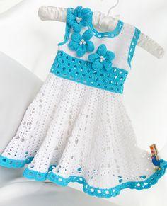 Crocheted children dress in white and blue by Svetlanababyknitting, $75.00