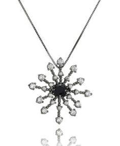 colar mandala rodio negro com zirconias cristais e negra semi joias de luxo