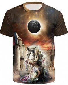 32578b827420 moon wolf t shirt for men galaxy beauty tee short sleeve xxxl