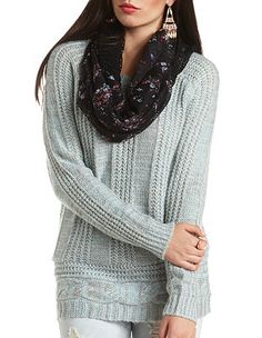 Mixed Cable Knit Tunic Sweater  Charlotte Russe f544eaa6e