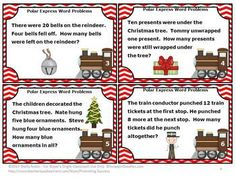 Polar Express: Polar Express Math Word Problems - Here are 30 tasks cards featuring the Polar Express! Students will solve addition and subtraction word problems up to A student response form and answer key are also provided. Polar Express Activities, Teaching Activities, Teaching Ideas, Christmas Math, Christmas Activities, Christmas Ideas, Addition And Subtraction Practice, Math Exercises, Math Problem Solving