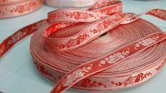 Vintage France Red Jacquard Brocade Ribbon Trim by VintageRibbons