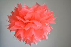 baby shower decoration - 1 paper flower pom pom -- Xl-- coral on Etsy, 18.06₪