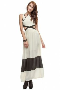 SLEEVELESS MAXI DRESS WITH WAIST OPENING & CONTRAST DETAIL