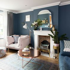 living room ideas – from midnight to duck egg, see how sophisticated blue. Blue living room ideas – from midnight to duck egg, see how sophisticated blue.Blue living room ideas – from midnight to duck egg, see how sophisticated blue. Cream Living Rooms, Blue Living Room Decor, Dark Blue Living Room, Living Room Color Schemes, My Living Room, Interior Design Living Room, Living Room Designs, Duck Egg Blue And Brown Living Room, Living Room And Kitchen Combined