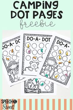 Speech Camp Freebie! These open-ended sheets can be used with bingo daubers, erasers, or with dry erase sleeves. These are great for camping themed speech therapy or summer! They can be used to address articulation, language, and fluency/suttering! #speechtherapy