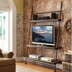 Idea for TV Stand. Instead of steel use long curved triangular MDF ends with shelves inbetween and much wider than this. Very Art Deco