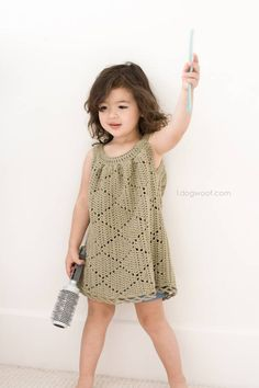 This adorable Summer Diamonds toddler dress is available in a free crochet pattern via 1dogwoof.com. The crochet dress is so sweet and elegant. This would be adorable in a white yarn for a summer flow