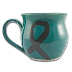 This teal mug is a great way to show support and awareness of ovarian cancer.