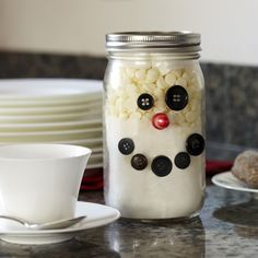 This frosty-inspired jar is a toasty and tasty way to send your party guests home with a festive gift!