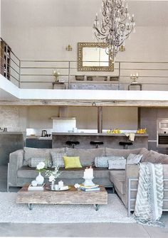 I like the two story... bar is a fun touch... coffee table on wheels