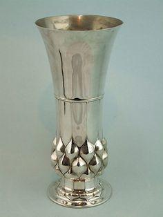 WMF Silvered Metal pineapple vase - Sheryl's Art Deco Emporium