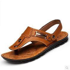 Playa de verano de moda de Cuero Tangas Nuevo Hombre Zapatos Informales Sandalias Ojotas