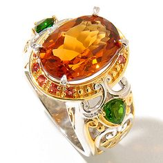 170-713 - Gems en Vogue Final Cut 5.50ctw Madeira Citrine, Chrome Diopside & Orange Sapphire Ring