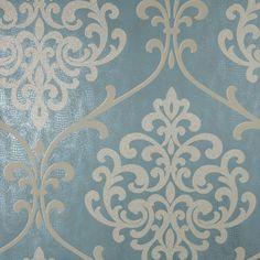 Kenneth James Ambrosia Teal Glitter Damask Wallpaper