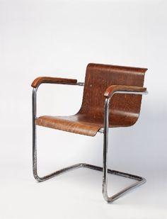 Mies van der Rohe; Chromed Tubular Metal Molded Plywood and Beech Armchair for Joseph Müller, c1930.