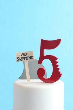 Shark Cake Topper Kit, No Swimming, DIY Birthday Cake, overthetopcaketopper by OverTheTopCakeTopper on Etsy https://www.etsy.com/listing/502955732/shark-cake-topper-kit-no-swimming-diy