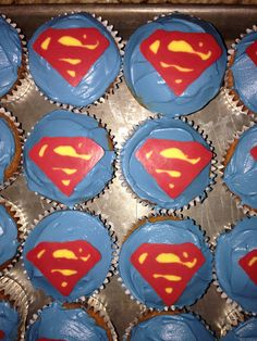 Superman cupcake toppers I made from candy melts Superhero Birthday Party, 3rd Birthday, Superman Cupcakes, Candy Melts, Cupcake Toppers, Desserts, 3 Year Olds, Tailgate Desserts, Deserts