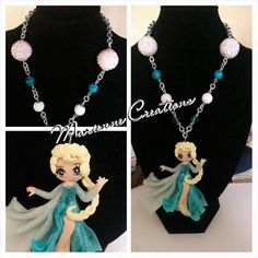 Handmade Necklace Elsa Disney Frozen Polymer by MarienneCreations, available