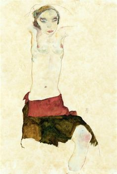 Semi Nude with Colored skirt and Raised Arms, 1911 Egon Schiele