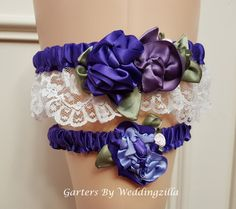 Victorian #wedding #garter set is made of shades of royal purple, Victorian lilac, lavender, a hint of pink and moss green leaves and buds over ivory lace make this a one of ... #bride #bridal #weddings #ido #bridalgarter #weddinggarterbelt ➡️ http://jto.li/Kgtcj