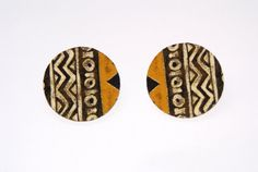 Large Stud Earrings - Fabric Covered Wood Earrings
