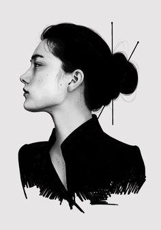 Digital Drawing by Laura H. Rubin #art #artwork #drawing #design #beauty Digital Painting Tutorials, Masters, Artworks, Art Photography, Goth, Illustration Art, Photo And Video, Tattoo, Portrait