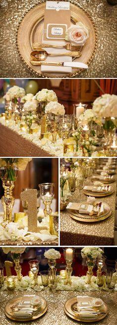 Gold table decor is still hot #wedding #trends #OliverINK on Etsy #WeddingIdeasGold