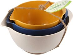 Easily make recipes in an eco-friendly manner using this three piece Melaboo batter bowl set from Reduce.The stylish pieces feature rubber ring bottoms for stability along with convenient pour spouts and are made from 60% bamboo and 40% melamine compounds.
