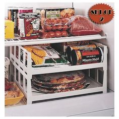 Use stackable shelves (office supply) to create more storage in your fridge or freezer, even in the pantry.