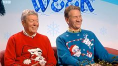 Alan Johnson and Michael Portillo in their Christmas jumpers.