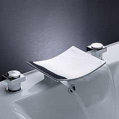 Brass Waterfall Bathroom Sink Faucet with Stainless Steel Spout (Widespread) - FaucetSuperDeal.com