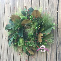 This stunning and unique rustic farmhouse style winter wreath will add the perfect touch of festive beauty to your front door or inside home decor! Because it's artificial, it will look gorgeous for years to come! It would also make a fantastic gift! Christmas Wreaths For Front Door, Christmas Porch, Door Wreaths, Easter Wreaths, Holiday Wreaths, Red Berry Wreath, Porch Decorating, Decorating Ideas, Magnolia Wreath