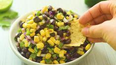 Black Bean and Corn Salsa Quinoa Health Benefits, Easy Corn Fritters, Black Bean Corn Salsa, Roasted Fingerling Potatoes, Canned Corn, Potluck Recipes, Salad Dressing Recipes, Greek Salad, How To Cook Quinoa
