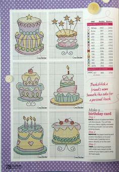 Birthday cake cross stitch cards.