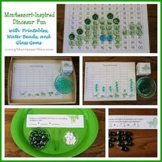 Montessori-Inspired Dinosaur Fun with Printables, Water Beads, and Glass Gems (links to lots of free dinosaur printables) - my monthly post at PreK + K Sharing