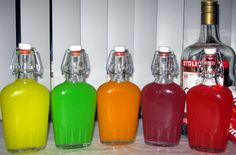 Skittles vodka flavors in their flasks. I'm going to make into lollies by adding glucose and sugar and letting them set on some waxed paper with a cocktail stick in them.
