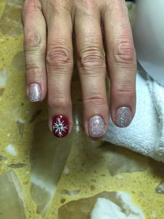 Christmas nail art , white snowflake
